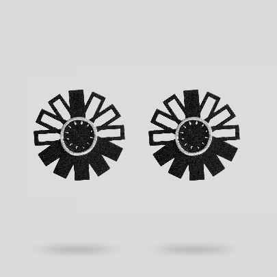 تصویر گوشواره چرمی گرد با حلقه فلزی