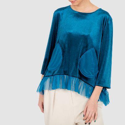 Picture of blue velvet long sleeve