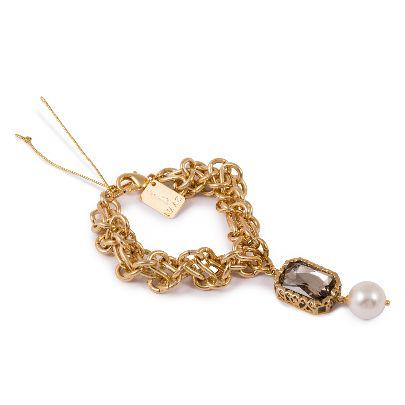 تصویر دستبند طلایی با مروارید و سنگ طوسی