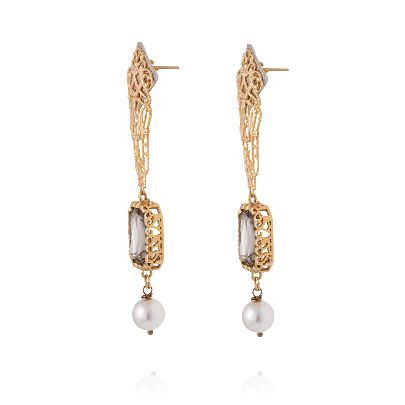 Picture of long earrings with pearl and grey stone