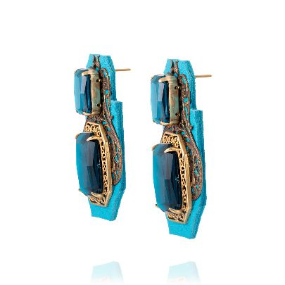 Picture of blue leather earrings with blue stone