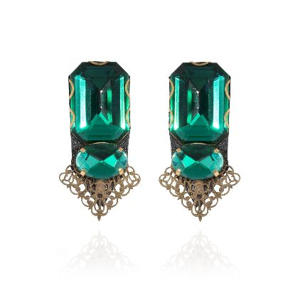 Picture of black leather earrings with green stone
