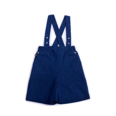 Picture of blue overall with leather pocket