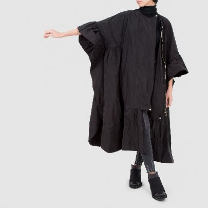 Picture of black raincoat with zipper