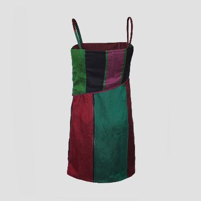Picture of short green & red silk dress