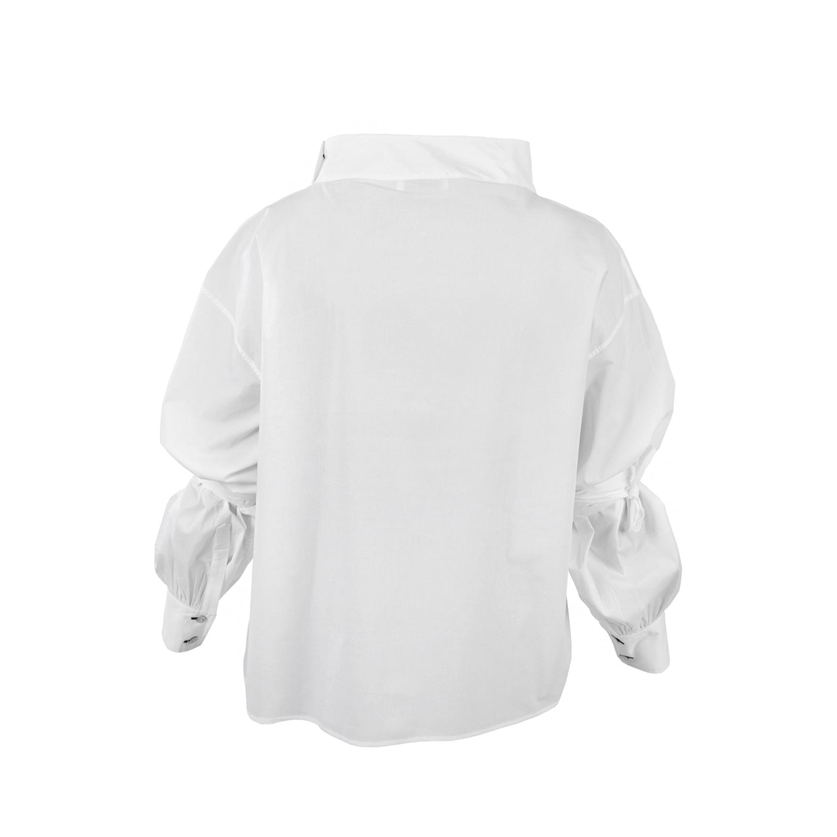 تصویر آستین بلند سفید یقه دار