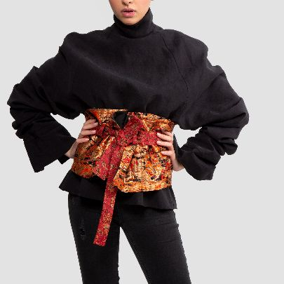Picture of red high waist wide termeh belt