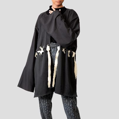 Picture of black cotton kimono