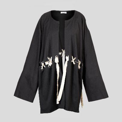 تصویر کیمونو مشکی با بند سفید