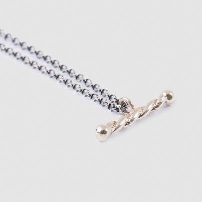 تصویر گردنبند خط پیچی با زنجیر مشکی