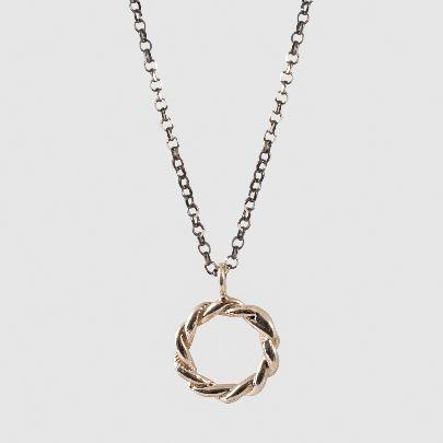 تصویر گردنبند دایره پیچی با زنجیر مشکی
