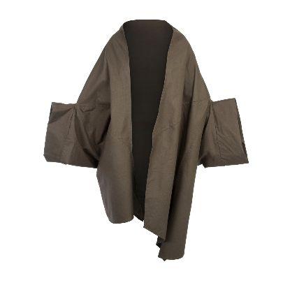 Picture of solmaz mahjoubifard double sided green coat