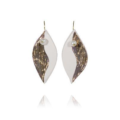 Picture of banafsheh saberi white leaf earrings