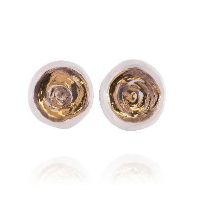 Picture of banafshe saberi golden and white pond earrings