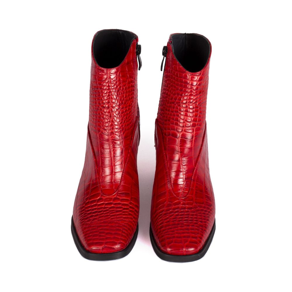 Picture of azarm red high heels boots