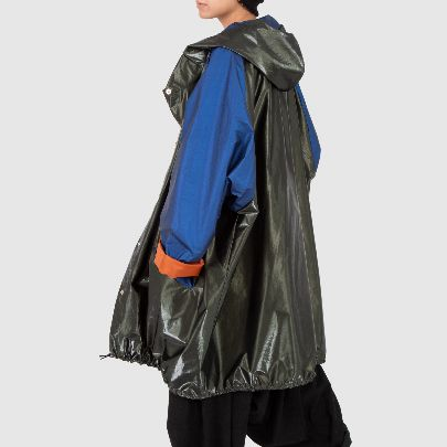 Picture of black and blue raincoat with pocket