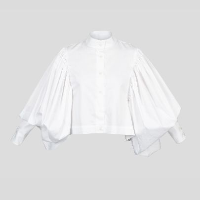 Picture of white blouse with puffy sleeves