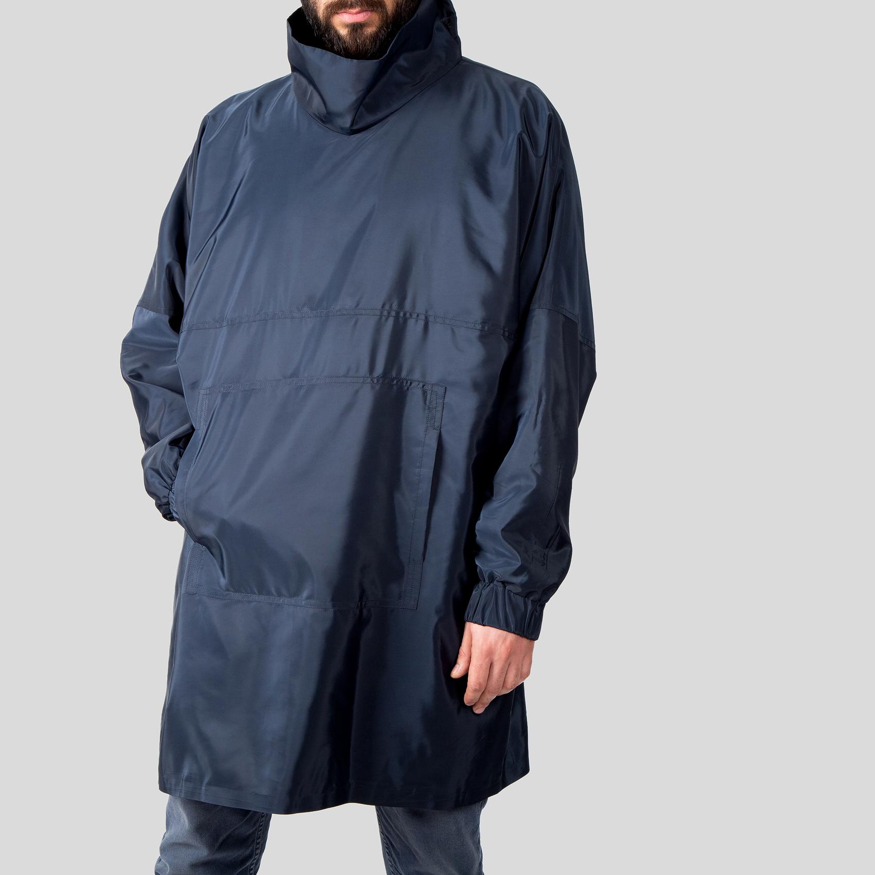 تصویر بارانی جلو بسته آبی
