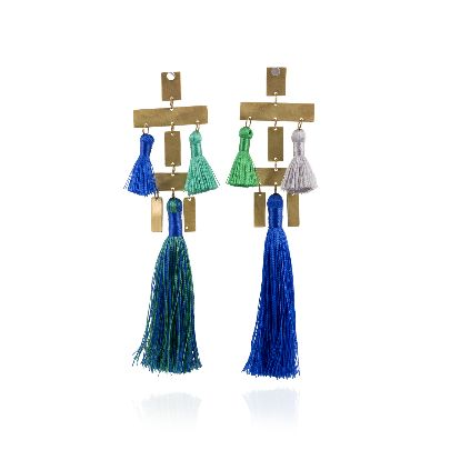 Picture of mangoole green and blue earrings