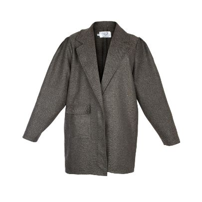 Picture of tara design dark gray coat with shawl collar
