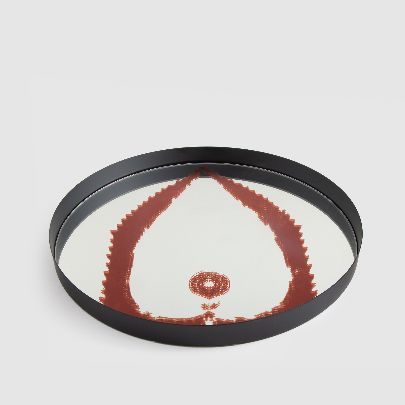 Picture of mirror tray with red pattern