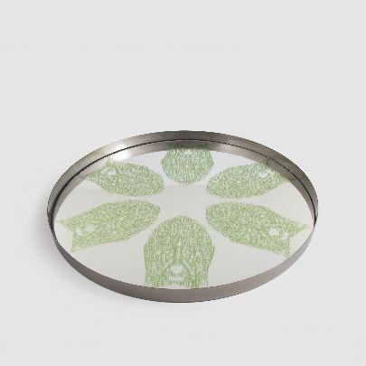 تصویر سینی آینه ای با طرح سبز رنگ