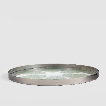 Picture of mirror tray with green pattern
