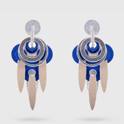 تصویر گوشواره دلنگو سه برگ آبی نقره ای