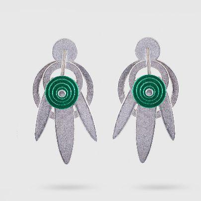 تصویر گوشواره دلنگو سه برگ سبز نقره ای