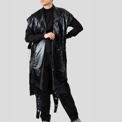 Picture of black leather pancho