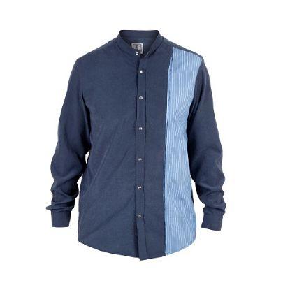تصویر آستین بلند آبی پترن دار
