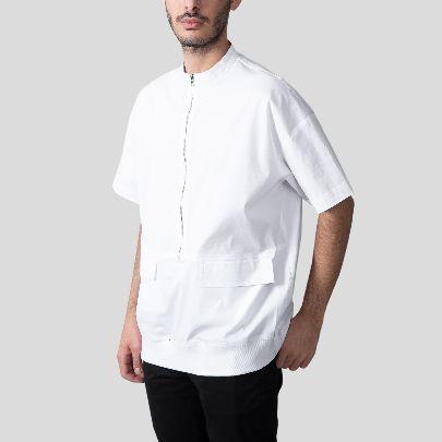 تصویر آستین کوتاه سفید زیپ دار