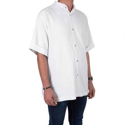 تصویر آستین کوتاه سفید دکمه دار