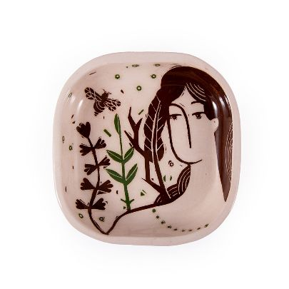 Picture of illustrated woman & bee  square bowl