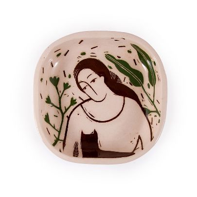 Picture of illustrated woman & cat  square bowl