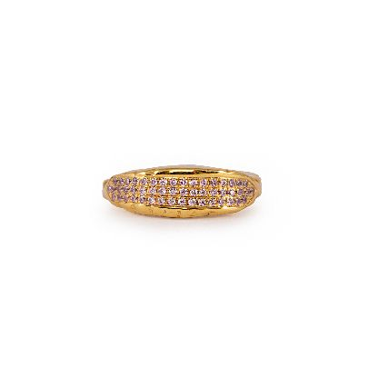 Picture of gold ring with light purple crystals