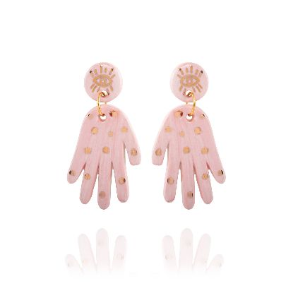 Picture of pink hands earrings