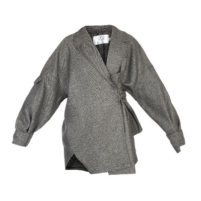 Picture of tara design light gray coat with shawl collar