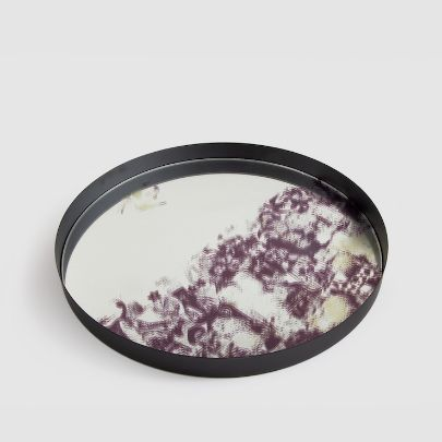 Picture of mirror tray with purple pattern