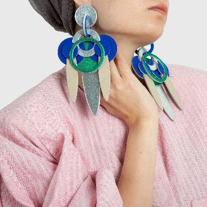 تصویر گوشواره دلنگو سه برگ آبی سبز
