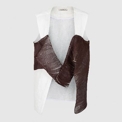 Picture of patterned brown & white vest