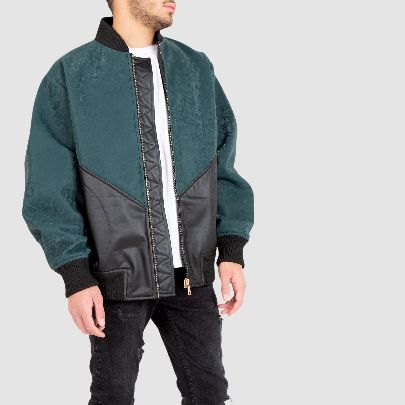 Picture of black & green leather overcoat