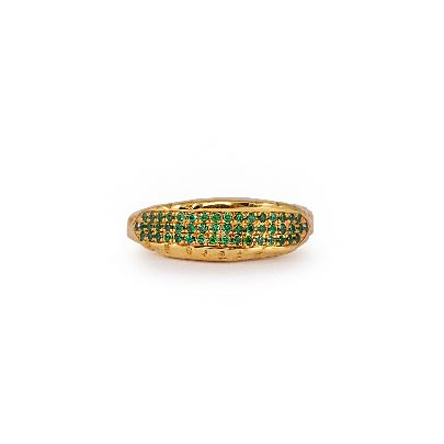 Picture of gold ring with green crystals