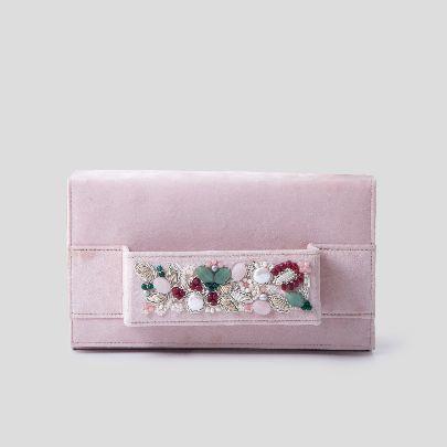 Picture of golestan light pink velvet clutch