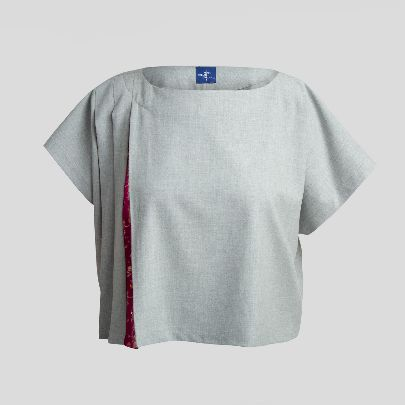 Picture of Grey blouse round neck with pink cashmere