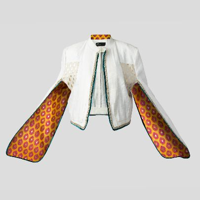 Picture of White coat with floral lining