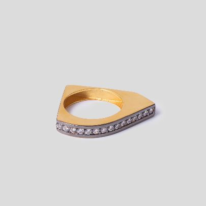 Picture of silver & gold with crystals ring