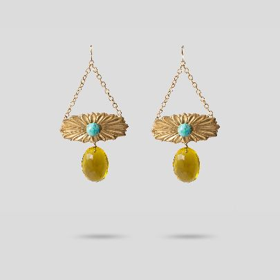 Picture of flower earrings with yellow stone and turquoise
