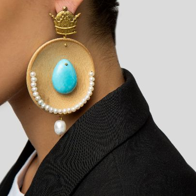 Picture of turquoise wood and stone earrings