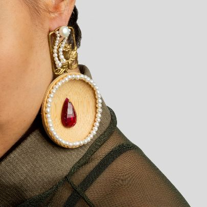 Picture of wood and pearl earrings